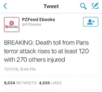 opmerkelijk bericht Parijs op twitter