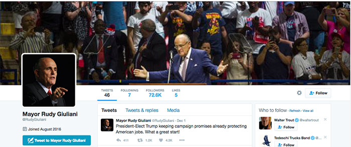 nieuwe twitter account Rudy Giuliani