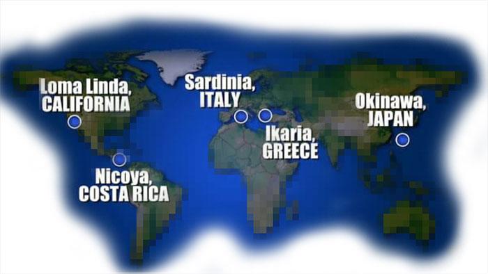 waar vindt je de blauwe zones in de wereld