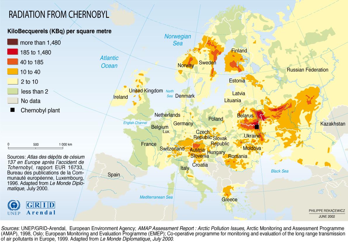 tsjernobyl besmette gebieden 10 jaar na de ramp in heel Europa