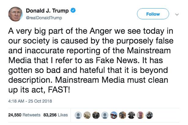 Trump tweet over de media aanslag