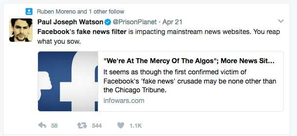 infowars tweet fake news