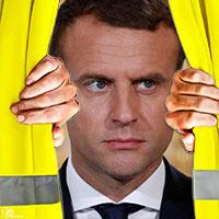 Macron verbergt zich voor de gele vestjes