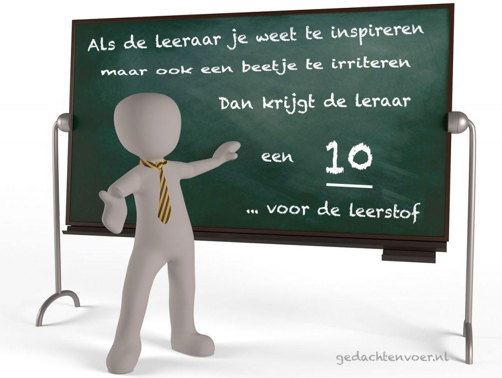 een leraar kan inspireren en irriteren
