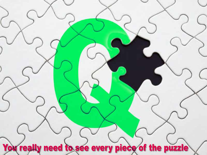 Q some expect te see every peace of the puzzle before